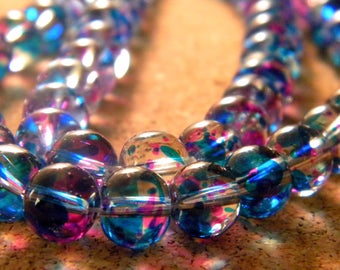 50 2 tones-turquoise and fuchsia - translucent glass beads 8 mm - 4 PE233