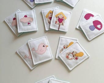 Heart Memory card Game kids. Memory game.