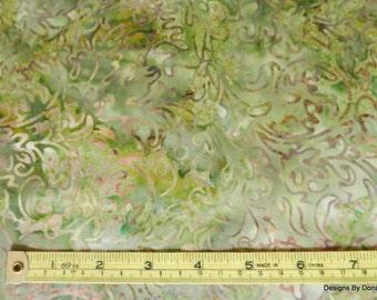 One Half Yard Cut Quilt Fabric, Jinny Beyer, Green Floral Batik, Malam Batiks Java, RJR Fabrics, Quilting-Sewing-Craft Supplies