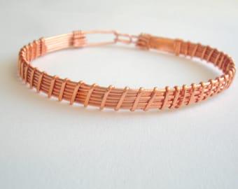 Copper bracelet wire wrapped copper arm cuff. Metal woman bracelet.
