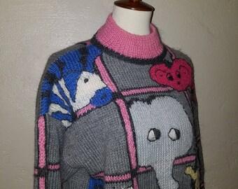 Vintage 80s Gray/Pink Zoo Animals ~ Elephant/Sloth/Zebra/Monkey/Giraffe Wool Blend Jumper LARGE Mock Turtle Neck ~ Indie/Prep
