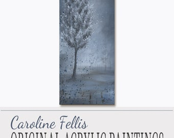 "White Flowers Tree Painting, Acrylic Painting, Original Art, Spring Frost I by Caroline Fellis, 12x30"",  Tree Acrylic on Canvas, A/C, COA"