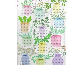 2018 Tea Towel Calendar Set - 2018 Herb Calendar by Nadinewestcott - Kitchen Herbs Linen Cotton Tea Towel Set by Roostery w/ Spoonflower