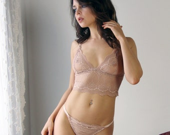 sheer lace bralette with triangle cups and long line body - womens lace and sheer mesh lingerie range - ROMANTIC - made to order