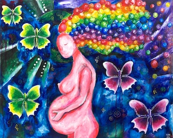 Painting Pregnancy Art - Print of Original Painting - Childbirth Motherhood Blessingway