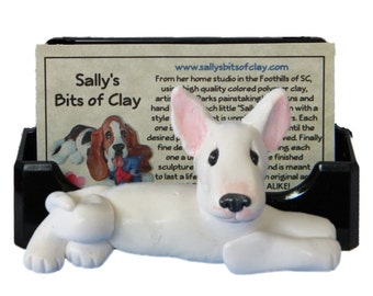 White Bull Terrier Dog Business Card Holder / Iphone / Cell phone / Post it Notes OOAK sculpture by Sally's Bits of Clay