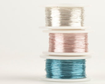 PASTEL Baby Craft Wires , 28 gauge Extra long Craft Wire spools 360 feet,  Baby Blue Rose gold and white silver, non tarnish wires