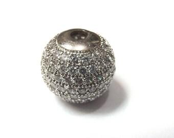 Metal rhinestone-encrusted PF34 0140 shape bead 14mm round