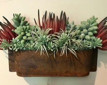 Rust Wall Planter with faux succulents