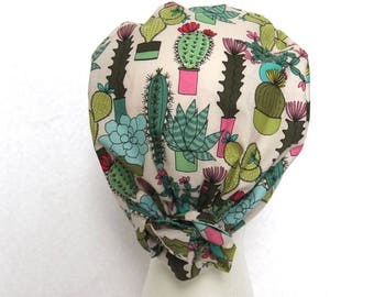 Scrub Cap, Surgical Hat, Cactus, Succulent, Tie Back Scrub Hat, Green, light blue
