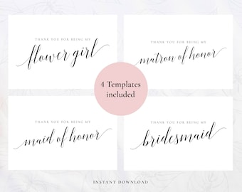 Wedding thank you card, Printable thank you template, Thank you Instant download, Editable PDF, DIY Wedding card, thank you Bridesmaid card