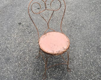 Set of 2 Vintage ice cream parlor chairs | Antique wrought iron chairs | Wrought iron furniture | Salmon chippy white accent chair | Metal