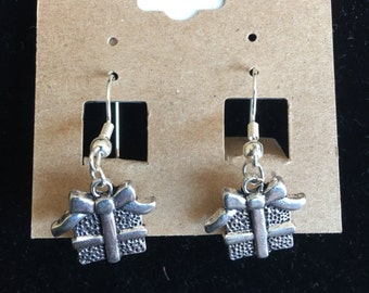 Silver plated hanging present earrings