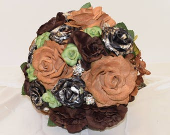 Brown Bouquet, Mossy Oak Camo Wedding Bouquet, Camo Bridal Bouquet, Tan Bouquet, Green Bouquet, Fall Bouquet, Bling Bouquet, Country Bouquet