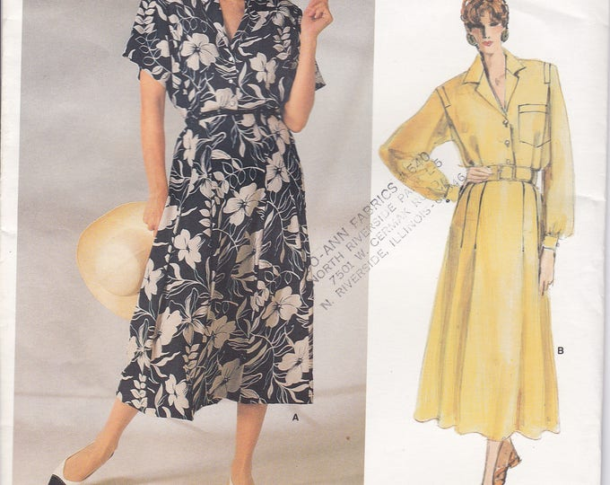FREE US SHIP Vogue 1722 Designer Ralph Lauren Sewing Pattern Uncut Size 12 Bust 34 Shirtwaist Dress Wide Shoulder