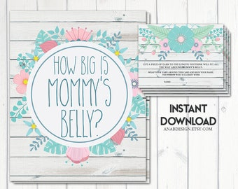 How Big is Mommy's Belly? Game, Baby Shower Games, Rustic Baby Shower, Floral Baby Shower, Baby Shower Girl, Hello Baby, Printable No. 1056