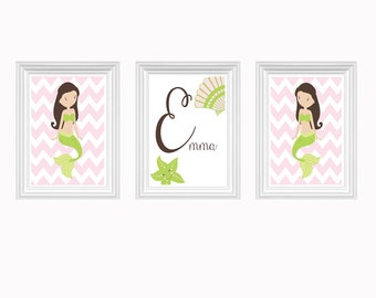 Mermaid Nursery Art Personalized Name Print Girl's Room Baby's Room Chevron Pink Green- Wall Art Print Set of 3 - 8x10 Kids Room Decor