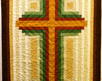Log Cabin Christian Cross - multiple sizes , PDF Download