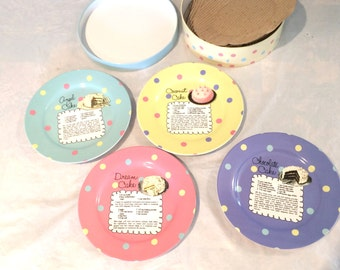 Vintage Pot Luck By Rosanna Set of 4 Dessert Plates in a box  Ceramic Great condition!