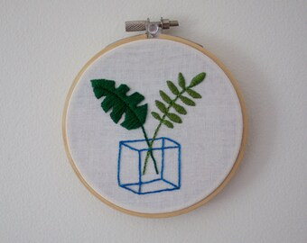 Minimalist Plant Embroidery | Hand Embroidered Hoop Art Wall Hanging Decoration Minimal Plants Box Cube