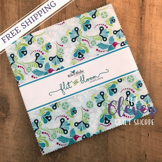 Layer Cake Squares, Riley Blake, Flit and Bloom, Geometric, Birds, Hummingbird, Floral, Pink, Teal, Precut Quilt Fabric, Gray, Riley Squares