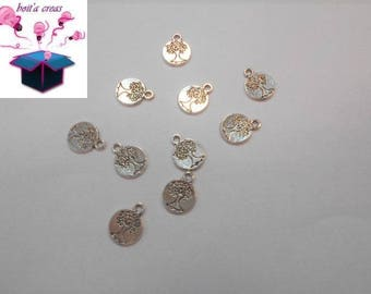 10 charms in antique silver tree of life size 15 x 12 x 1.5 mm