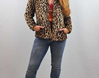 Vintage Leopard Print Faux Fur Blazer Jacket