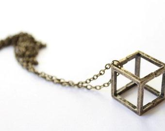 "Bronze geometric necklace ""CUBE"""