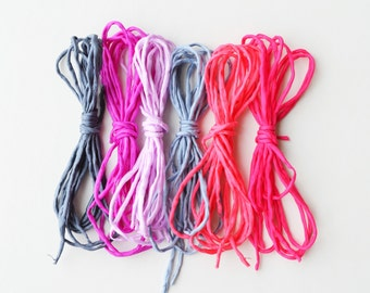 Hand dyed Silk Cords  - Set of 6 - pink and grey silk strings lot