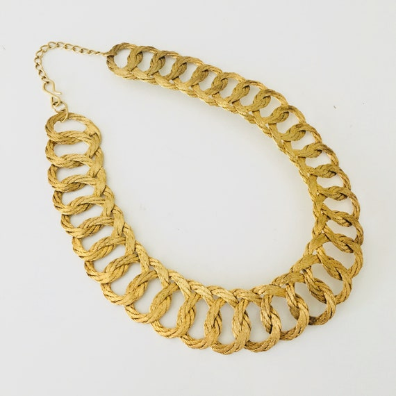 Vintage Gold Brass Necklace 70s Coiled Rope Bohemian Brass Choker Mid Century Modern Jewelry