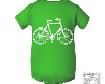 Baby One-Piece Vintage BICYCLE  Eco screen printed (+ Color Options) - FREE Shipping
