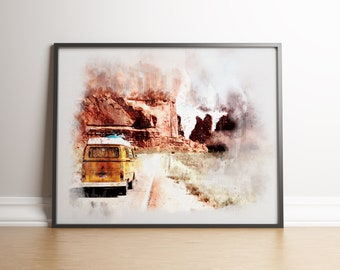 Print Vintage Retro Van Print Retro Car Print Watercolor Print Van Van Poster Van Decor Printable art retro Digital prints Digital prints