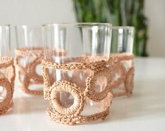 Set of 4 vintage drinking glasses rattan boho glasses drinking glass crochet
