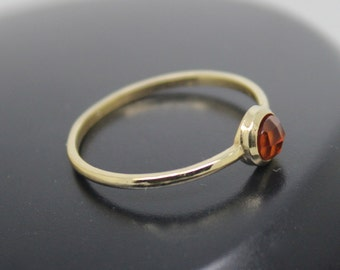 Hessonite Garnet Ring, Rose Cut Hessonite Garnet Ring, 18k Solid Gold Ring, Thin Gold Ring, Stacking Ring, Solitaire, January Birthstone
