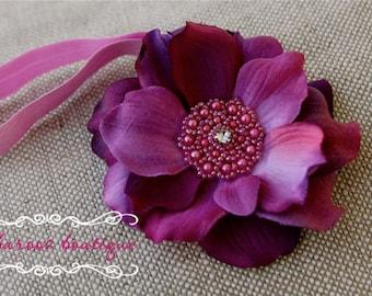 Baby headbands, Purple Flower Headband, Newborn Headband, Baby Headband, boutique FLower Headband