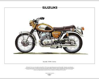 SUZUKI T500 COBRA - Motorcycle Fine Art Print - 500cc twin - Japanese motorbike