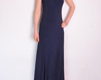 90's polka dot maxi dress, flared bottom navy blue and white retro old fashioned midi dress, long sleeveless dress