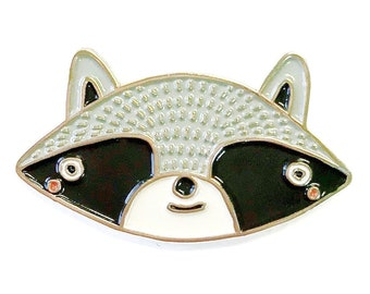 Raccoon Enamel Pin, Raccoon Jewelry, Raccoon Brooch, Coon Brooch, Raccoon Pin