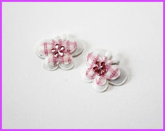 Pink n White Butterfly Hair Clip Set of 2