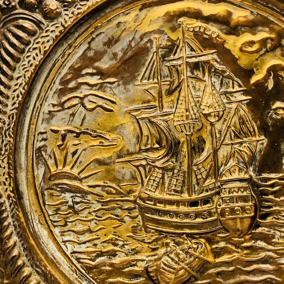 Pirate Ship Decor Brass Ship Plate Nautical Wall Decor