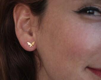 Gold Butterfly Studs , Mini Butterfly Earrings , Petite Butterfly Post Earrings , Butterfly Jewelry , Girls Earrings , Handmade Studs