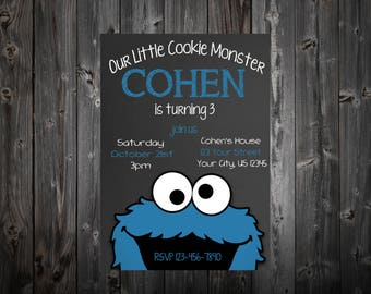 Cookie Monster Chalkboard Birthday Party Invitatiom