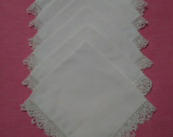 6 White Cotton Table Napkins.