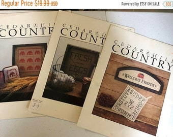 """MAYniaSALE Vintage 1982 Set of Three Cedar Hill Shaker """"Country"""" Counted Cross Stitch Patterns"""