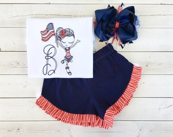 Girls 4th of July Outfit, 4th of July Shirt for Girls, July 4th Outfit, Independence Day Outfit, American Flag Shirt, Girls Short Set