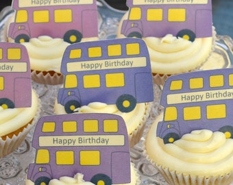 Edible PURPLE x 15 London Double Decker Buses - Routemaster Personalise Wafers Rice Paper Cake Cupcake Biscuit Toppers Party Decoration