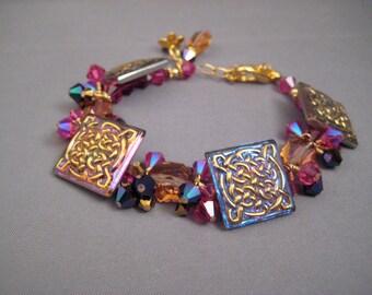Iridescence - Vintage Czech Glass Button, Swarovski Crystal, and Gold Filled bracelet
