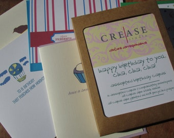 Birthday Cards Pack, 12 assorted birthday greeting cards, recycled cardstock, greeting card pack, happy birthday