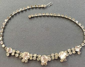Showy Vintage Rhinestone Necklace.  Free shipping