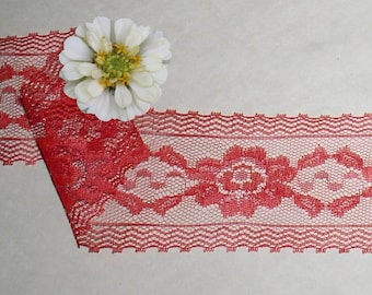 Red Lace Trim 6 Yards Vintage Picot Floral 3 inch Lot D24B Added Items Ship No Charge